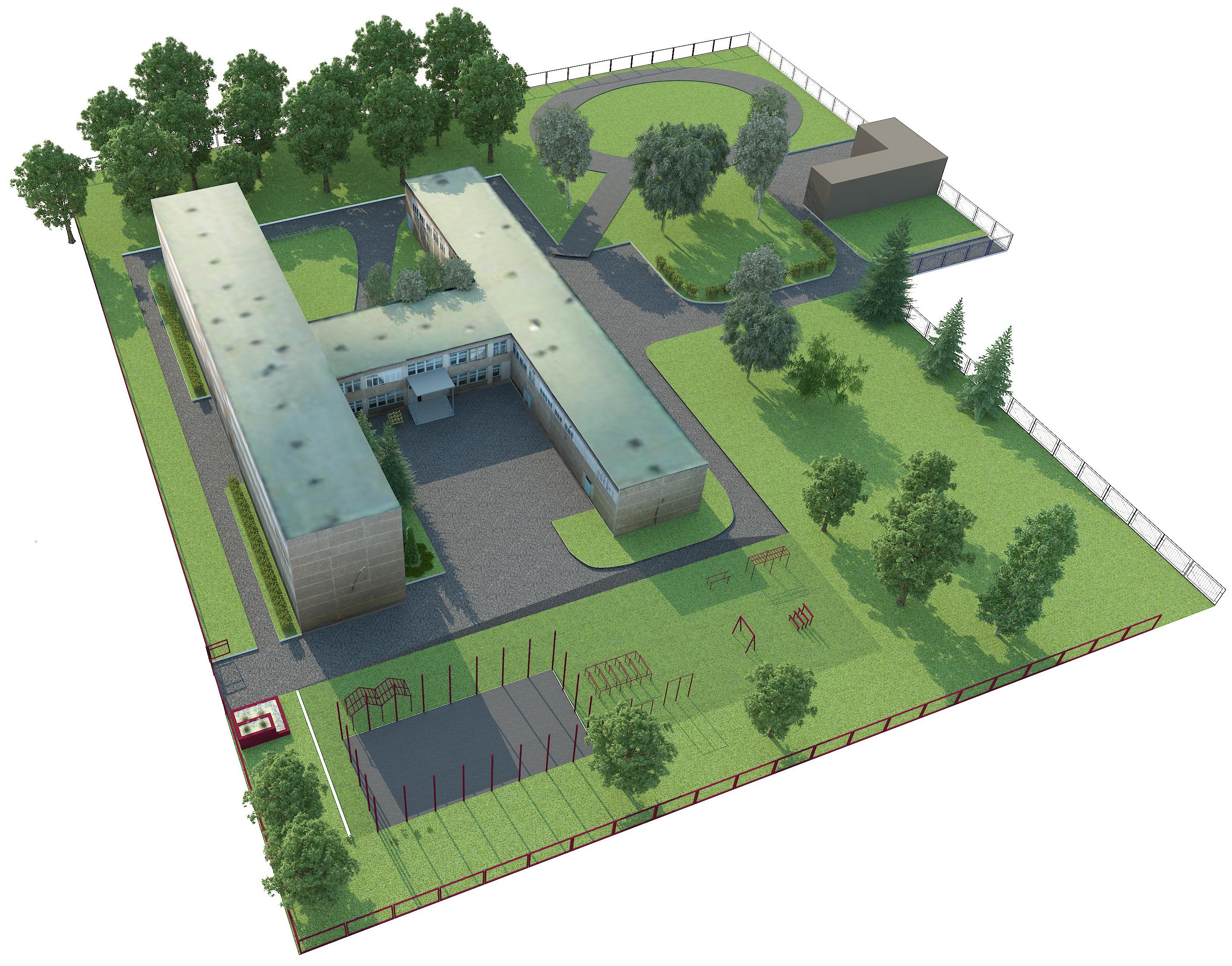 рисунок школы сверху